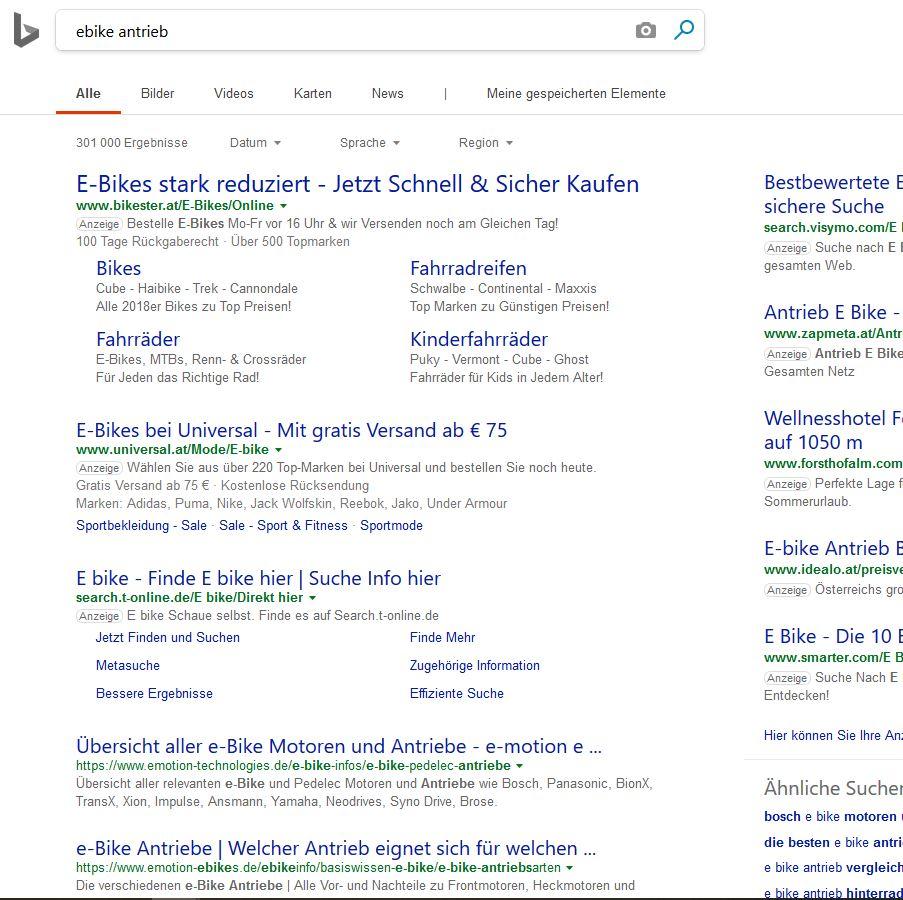 Such-Absicht: Bing muss es noch lernen