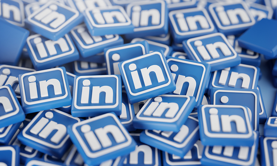 Pile of 3D LinkedIn Logos